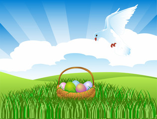 Pigeon and an easter basket