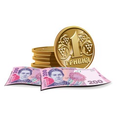 Hryvnia banknotes and coins vector illustration