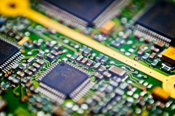circuit board macro background