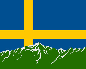 Gebirge mit Fahne von Schweden