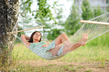 woman sleep on hammock