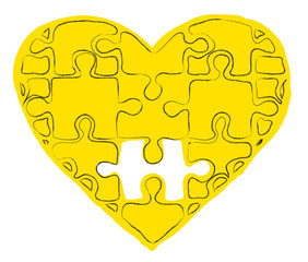 heart with puzzles as a concept of romantic love