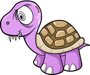 Crazy Insane Turtle Animal Wildlife Vector Illustration Art