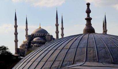 Dome of Hagia Sophia with Blue Mosque in background
