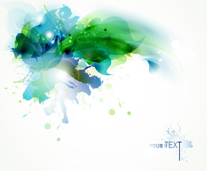 Fototapete - Abstract background with blue and green blots