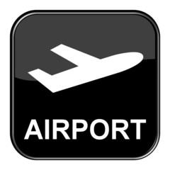 Glossy Button schwarz - Airport / Flughafen