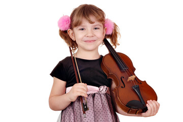 Wall Mural - little girl posing with violin