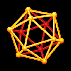 Icosahedron gold colored, three-dimensional shape. Platonic Solid in geometry, polyhedron with twenty triangular faces, thirty edges and twelve vertices. Illustration on black background. Vector.