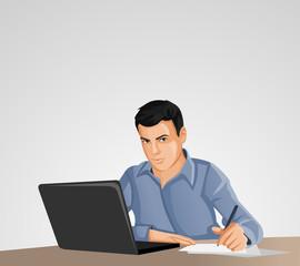 Man wearing blue shirt using laptop computer