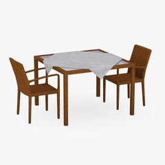3d render of  restaurant table