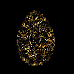 Easter egg with a golden ornament on a black background