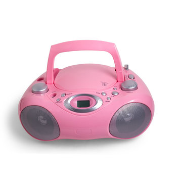 mp3 pink stereo cd radio recorder isolated on a white background