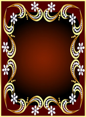 background with gold(en) pattern and flower from pearl