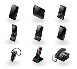 Vector set of 9 modern black phone/communication icons