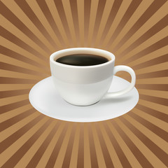 The coffee cup on a brown background