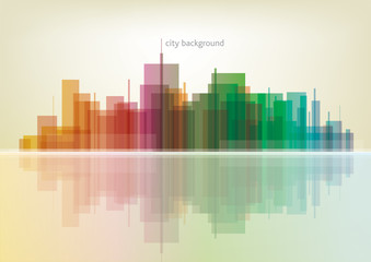 Colorful panorama city - vector background