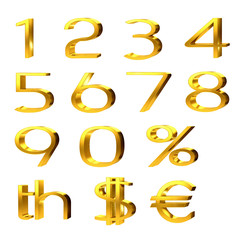 Gold Numbers And Currency Symbols