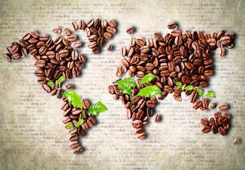 Obraz Kawa na całym świecie, fototapeta mapa świata - fototapety do salonu