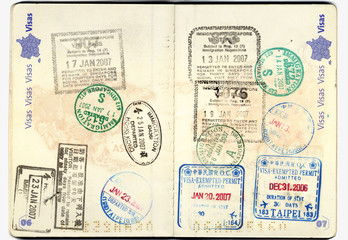 Passport european with stamps