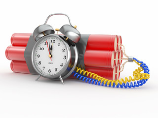 Countdown.  Time bomb with alarm clock detonator. Dynamit