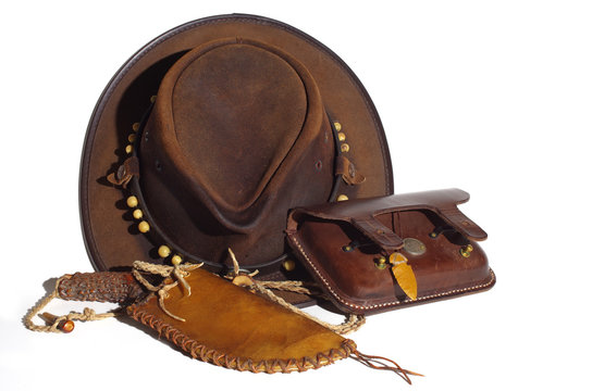 chapeau,coutelas,silex,cuir,australien,cowboy,flint knife