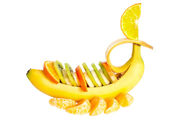 Banana with kiwi and orange segment.