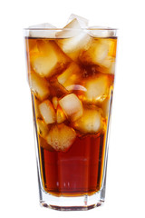 Cola with ice cubes isolated on white