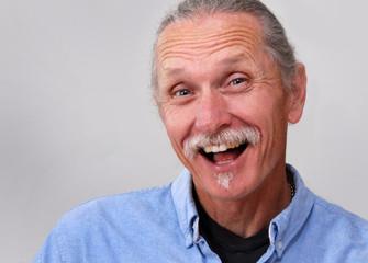Exuberant middle aged man