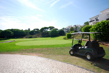 green golf course and cart in luxury resort