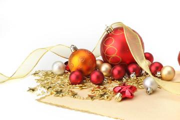 Christmas-tree decorations on white background