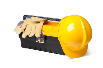 Hard Hat, Leather Gloves and toolbox