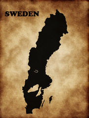 Map of Sweden on the old texture