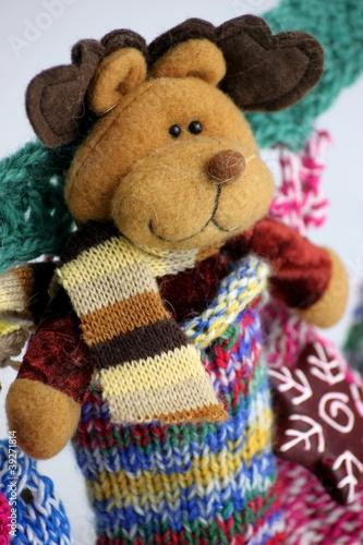 Weihnachtskalender Elch.Adventskalender Aus Socken Elch Steckt In Einer Stock Photo And