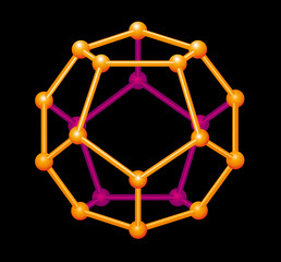 Dodecahedron gold colored, three-dimensional shape. Platonic solid in geometry, composed of twelve regular pentagonal faces, with three meeting at each vertex. Illustration on black background. Vector