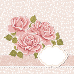 Floral background with roses, greeting card template