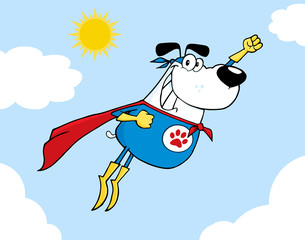 White Super Hero Dog Flying In Sky