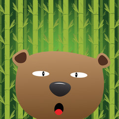 Bear with bamboo background