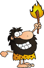 Happy Caveman Holding Up A Torch.