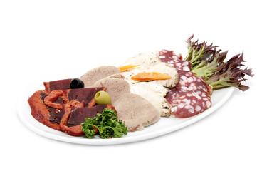 тарелка с мясными продуктами