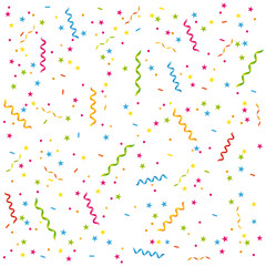 Streamers and confetti background.