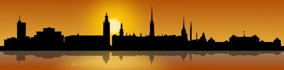 Skyline Stockholm mit Sonnenaufgang