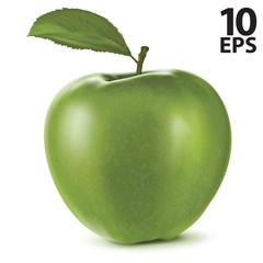 Fresh green apple with green leaf. Vector illustration