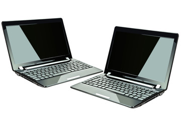 Black laptops isolated on white