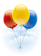 Flight of colored balloons