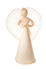 Handmade christmas decoration angel from straw, traditional Czec