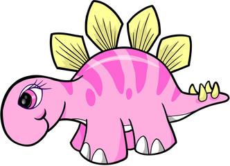 Girl Stegosaurus Dinosaur Vector