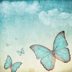 Fotorolgordijn Vlinders in Grunge Vintage background with a blue butterfly