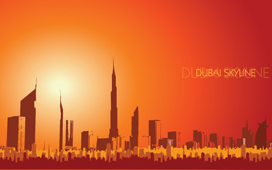 Dubai dust skyline