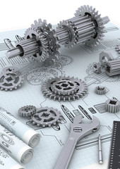 Mechanical and technical engineering concept