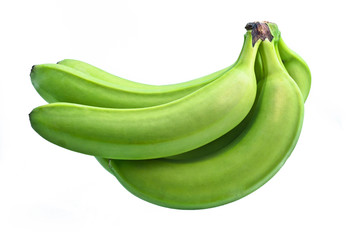 bunch of green bananas on white background